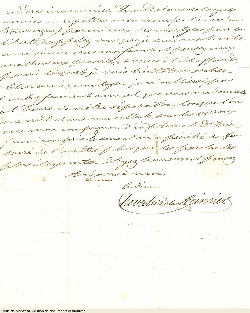 Lettre de Chevalier de Lorimier à L. A. Robitaille quelques jours avant son exécution à la prison de Montréal, 12 février 1839. BM2,S10,D8