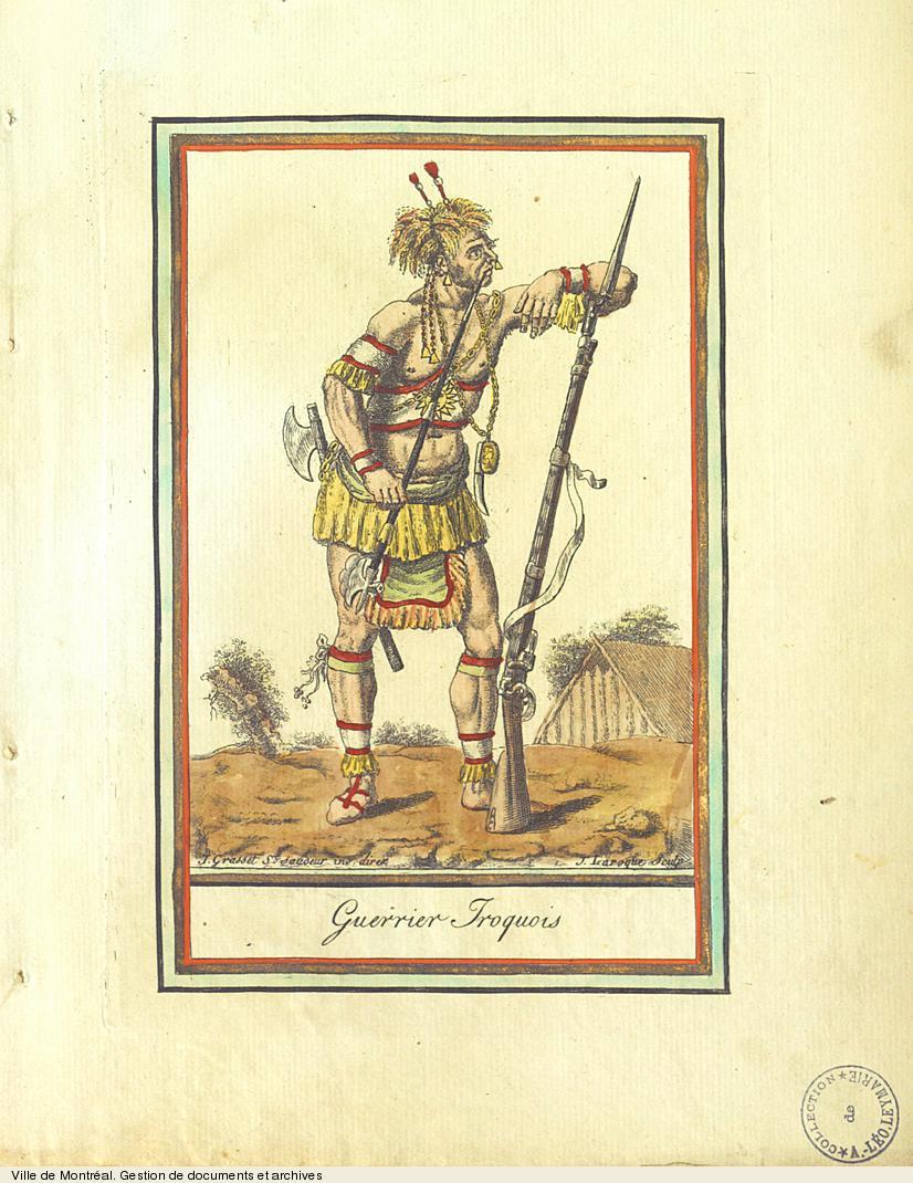 Guerrier iroquois, gravure de Grasset de Saint-Sauveur, vers 1796. BM5,C66,inv.1746