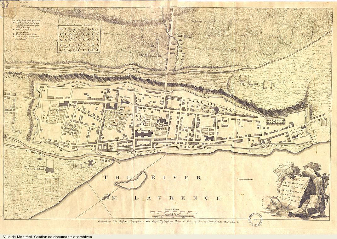Plan of the Town and Fortifications of Montreal or Ville Marie in Canada, 1758. BM5,C26,inv.46