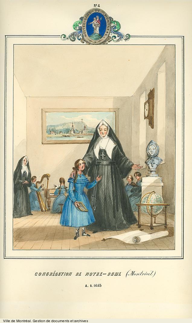 Religieuses de la Congrégation de Notre-Dame de Montréal, dessin de James Duncan, vers 1853. BM99,S1,D2