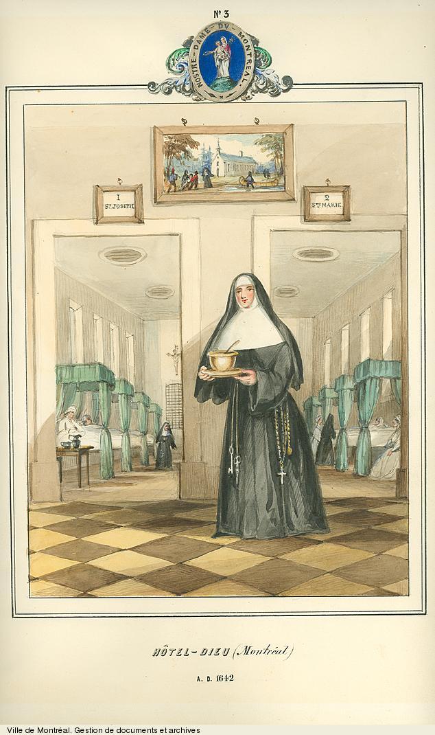 Religieuses de l'Hôtel-Dieu de Montréal, dessin de James Duncan, vers 1853. BM99,S1,D2