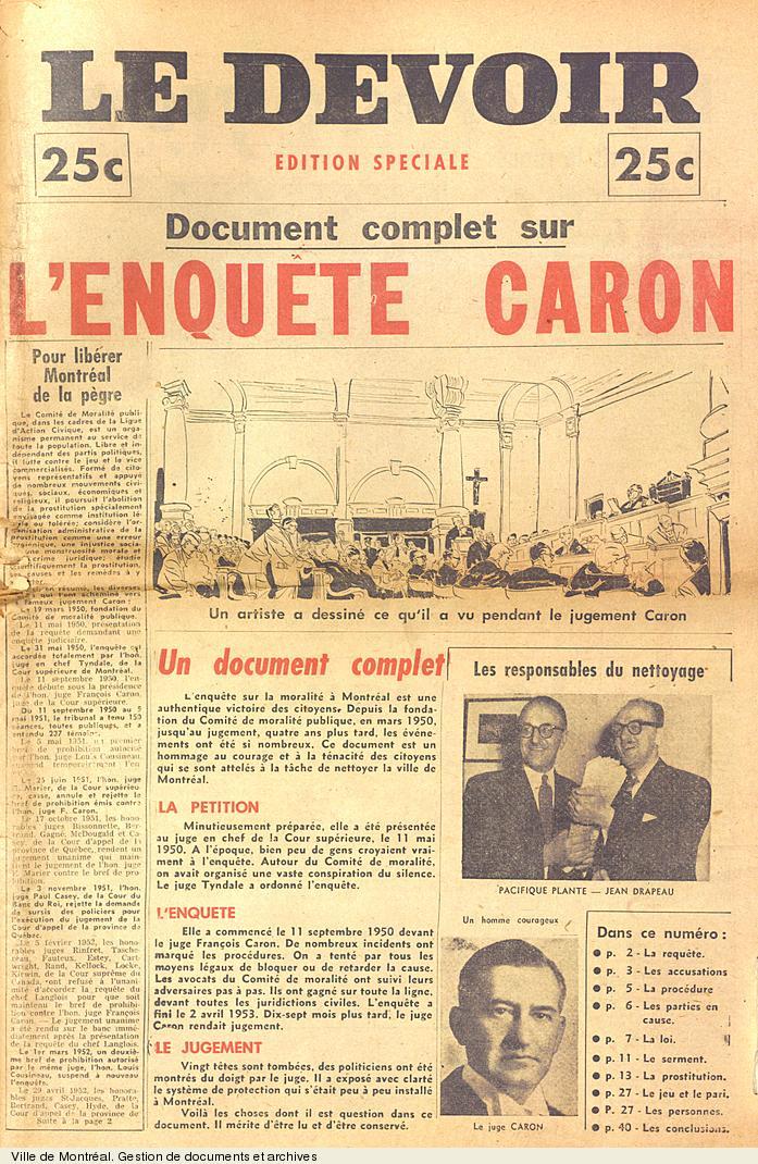 Page couverture de l'édition spéciale du journal Le Devoir à la suite du jugement dans l'enquête sur la police, 9 octobre 1954. P43,S4,SS1