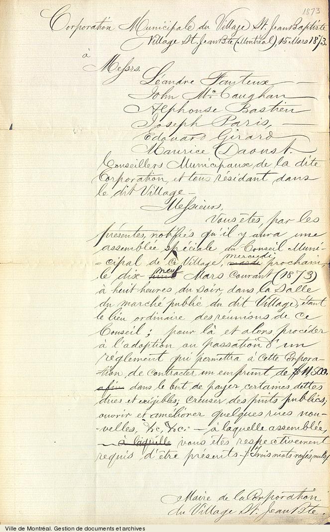 Avis de convocation aux conseillers pour une assemblée spéciale du conseil du village de Saint-Jean-Baptiste,15 mars 1873. P5,C1