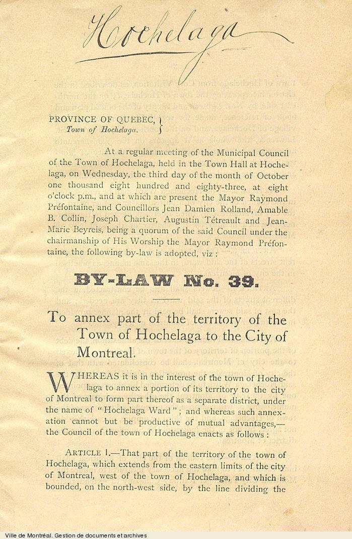 Règlement d'annexion d'Hochelaga à Montréal, 1883. P6,A2,1