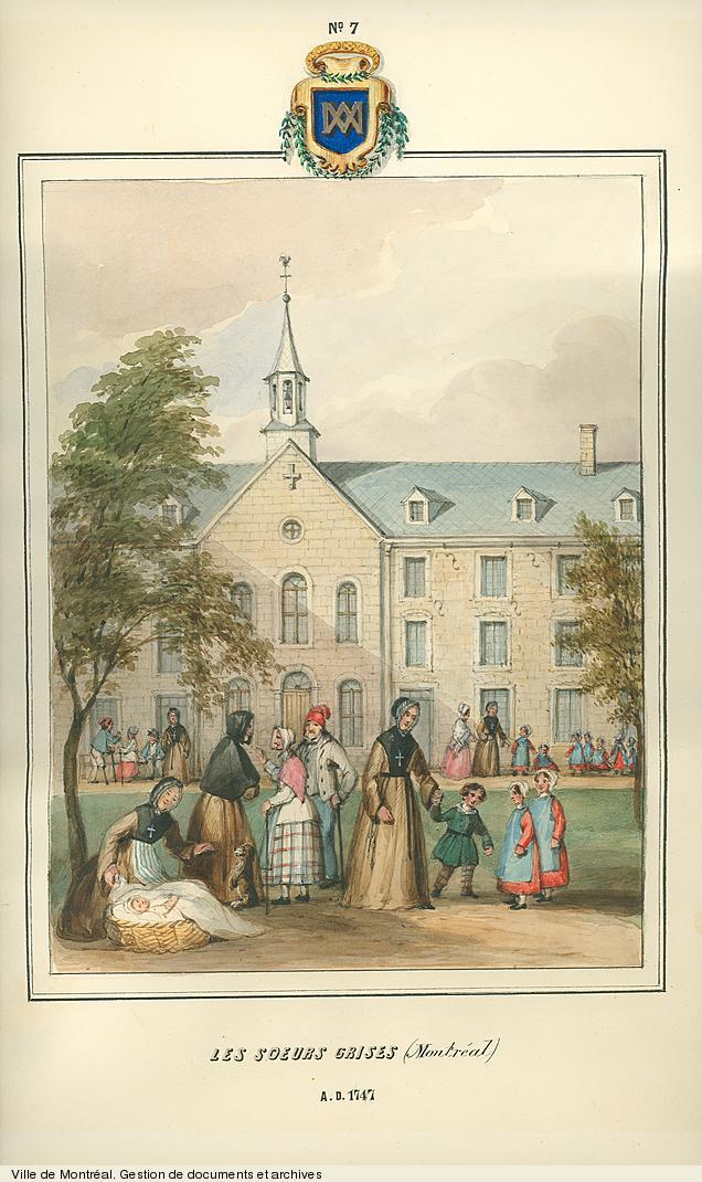 Les Soeurs grises de Montréal, dessin de James Duncan, vers 1853. BM99,S1,D2
