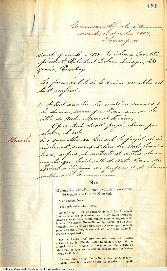 Procès-verbal d'une séance de la Commission spéciale d'annexion concernant l'annexion de la Ville de Notre-Dame-de-Grâce à la Cité de Montréal, 15 décembre 1909. VM1