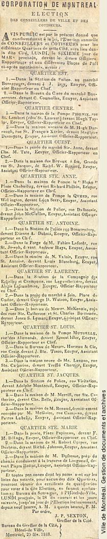 Avis public concernant l'élection des conseillers de ville,1848, VM1