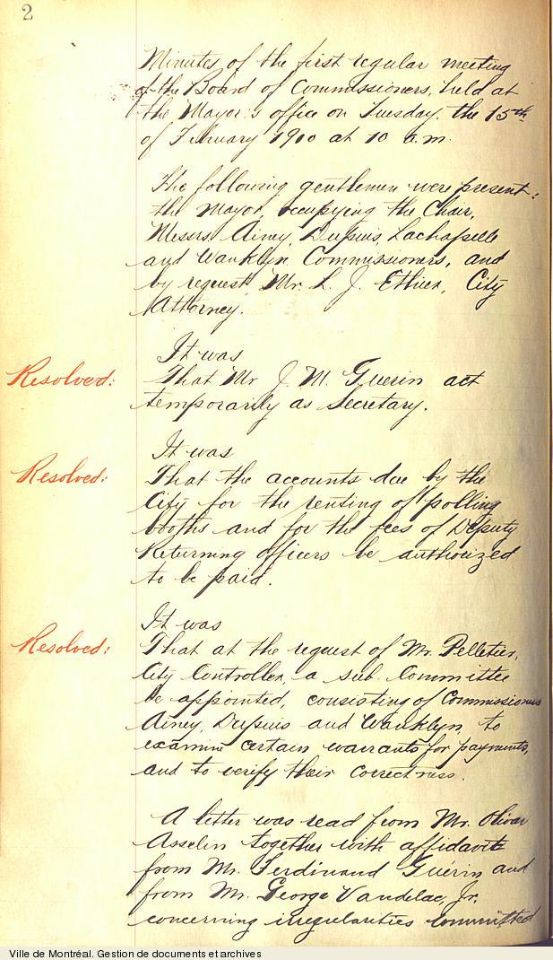 Procès-verbal de la première séance du Bureau des commissaires,15 février 1910. VM17,S0,D94