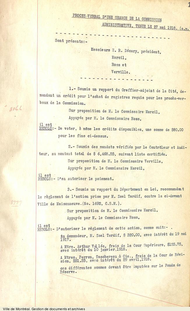 Premier procès-verbal de la Commission administrative, 27 mai 1918. VM18,S1,SS2,D1