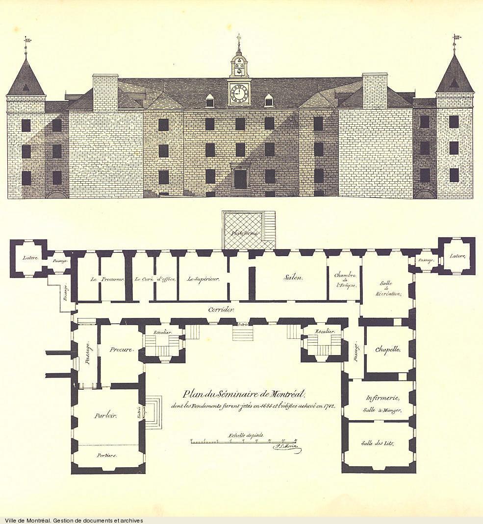 Séminaire Saint-Sulpice tiré de : Le Vieux-Montréal 1611-1803. - Montréal: H. Beaugrand, 1884. VM4,S1,D1
