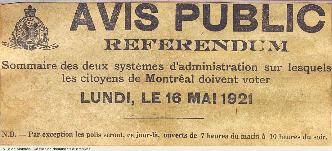 Avis public concernant le référendum sur le mode de gouvernement, 16 mai 1921. VM6