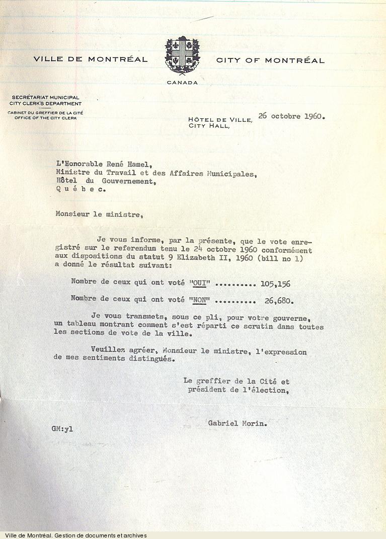 Résultats du référendum concernant l'abolition de la classe C, 26 octobre 1960. VM6,S0,D77