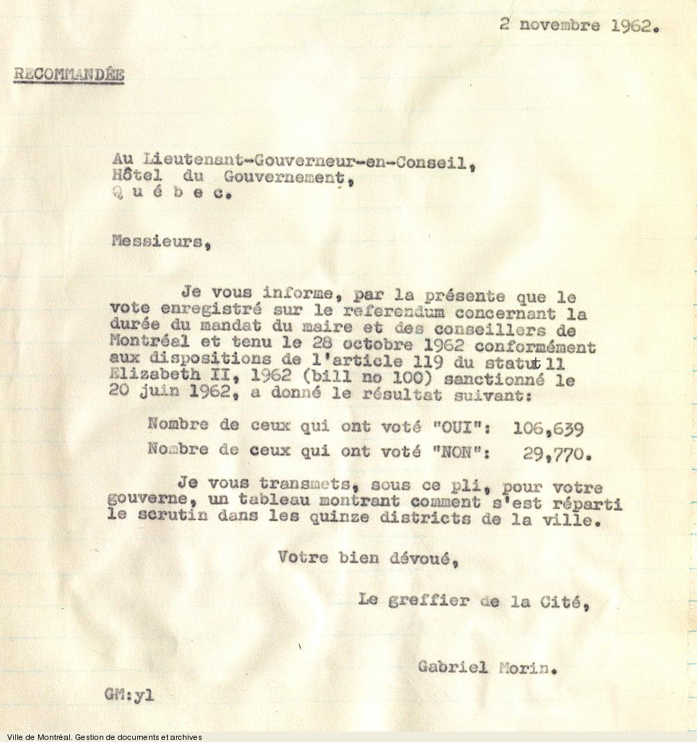Résultats du référendum sur la durée du mandat du maire et des conseillers, 28 octobre1962. VM6,S0,D77