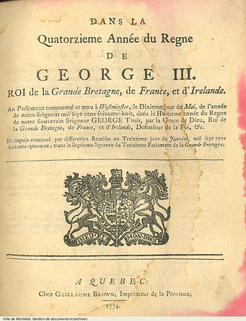 Acte de Québec. - 1774. - 30 pages. VM6,V.258.1-5