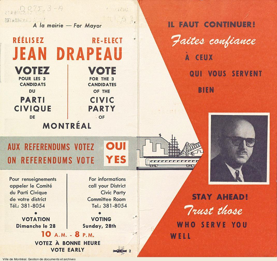 Dépliant électoral du Parti civique de Montréal. - [1962]. - 2 pages. VM6,S10,D075.3-A