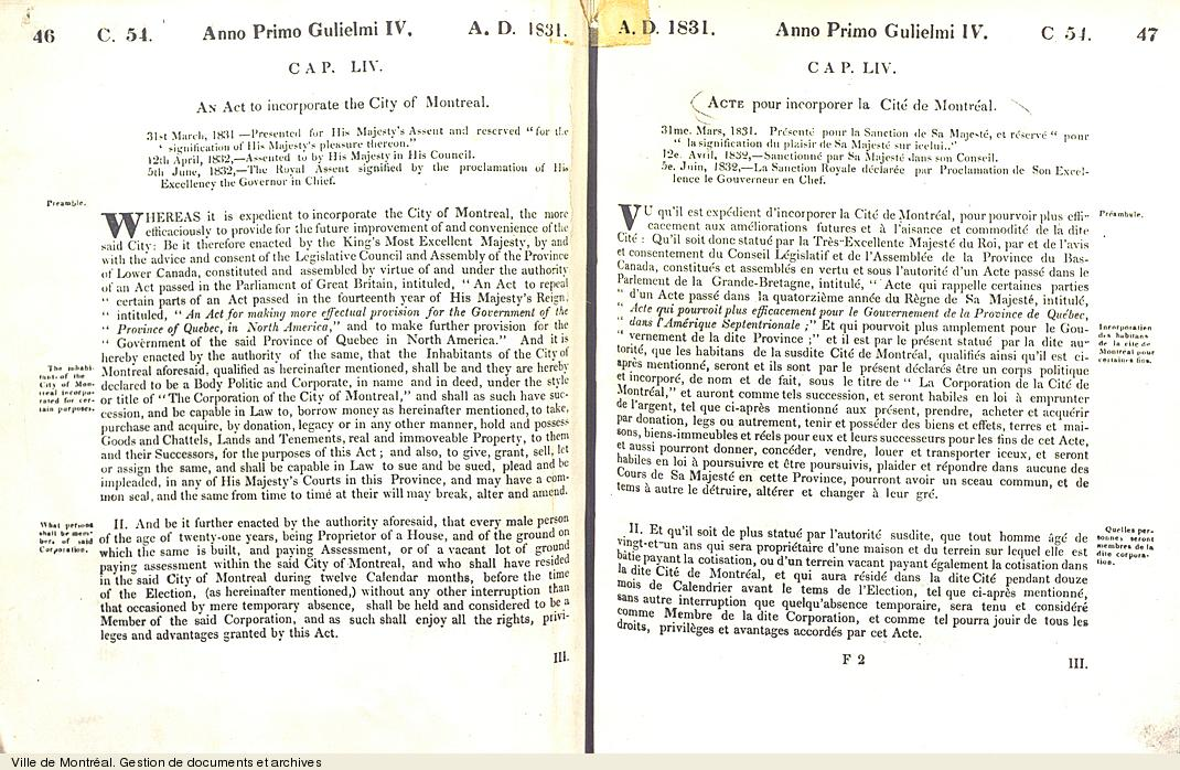 Acte pour incorporer la Cité de Montréal. - [1832]. - 22 pages.VM6,V.030.1