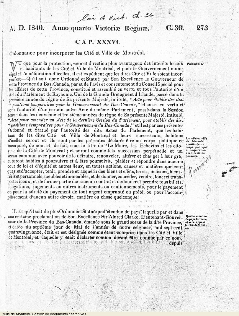 Ordonnance pour incorporer les Cité et Ville de Montréal [extrait],1840, 21 pages. VM6,V.030.2