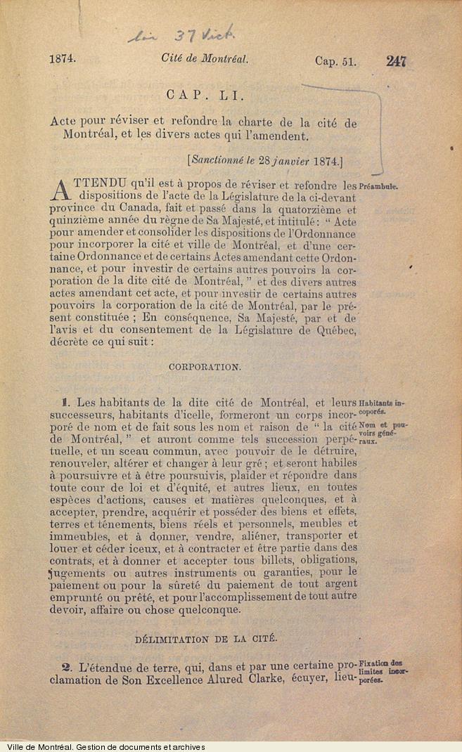 Extrait de l'Acte pour réviser et refondre la charte de la cité de Montréal et les divers actes qui l'amendent, 1874. VM6,V.260.1874