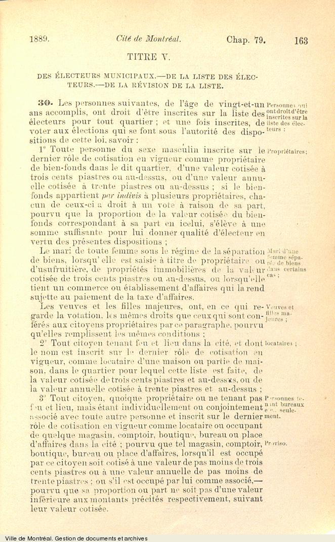 Extrait de la charte de 1889 concernant les électeurs, la liste électorale et sa révision. VM6,V.260.1889