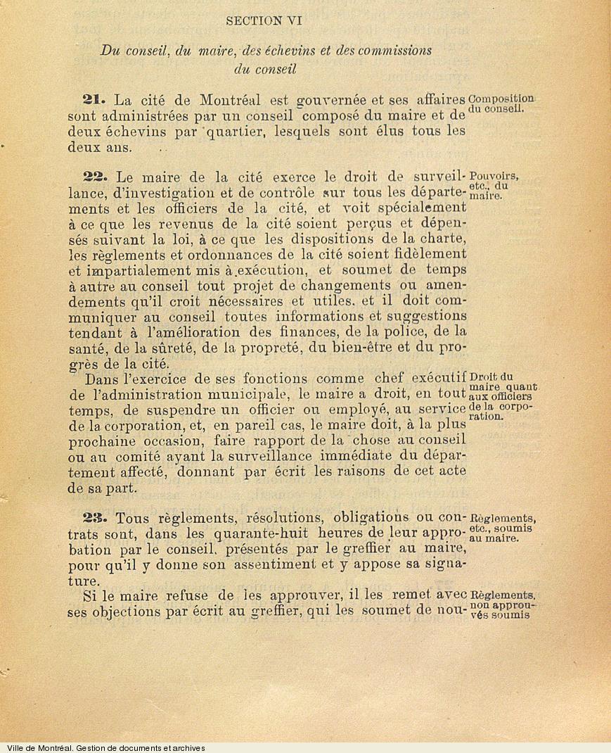 Extrait de la Charte de 1899 concernant le conseil, le maire, les échevins et les commissions du conseil. VM6,V260.1899