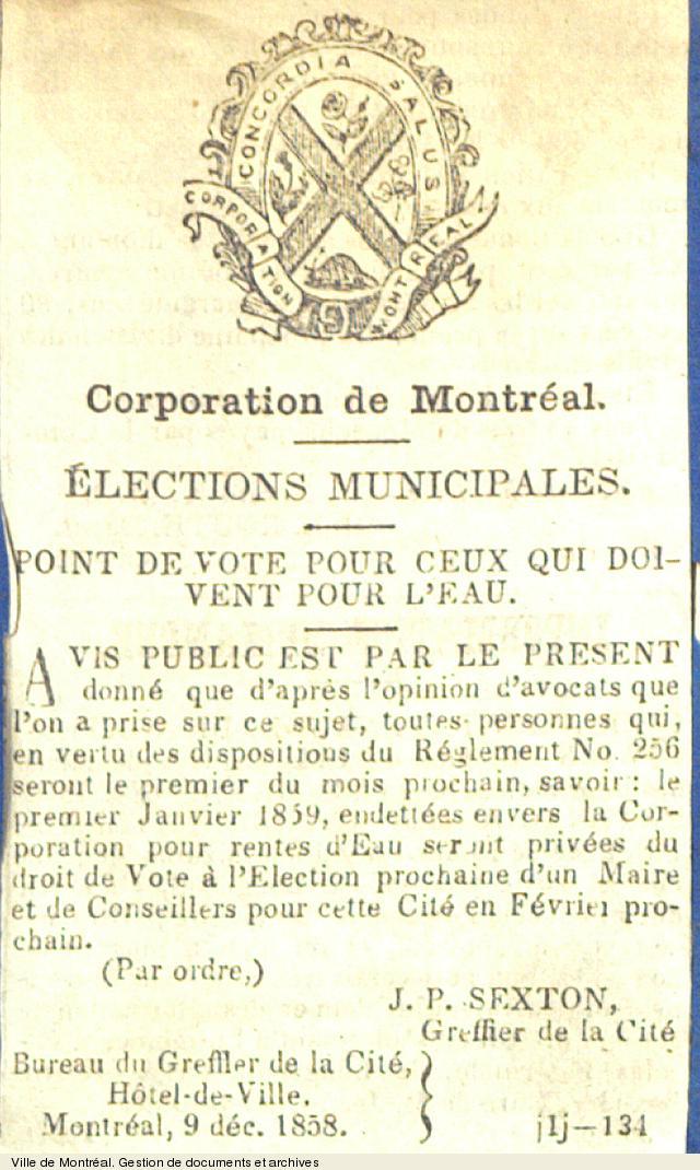Avis public concernant le droit vote aux élections de 1859, 1858. VM6