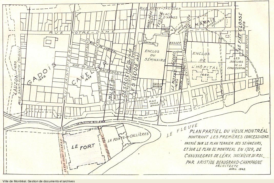 Plan partiel du Vieux-Montréal montrant les premières concessions... par Arsitide Beaugrand-Champagne, 1942 (original créé en 1729). VM66,1660-1