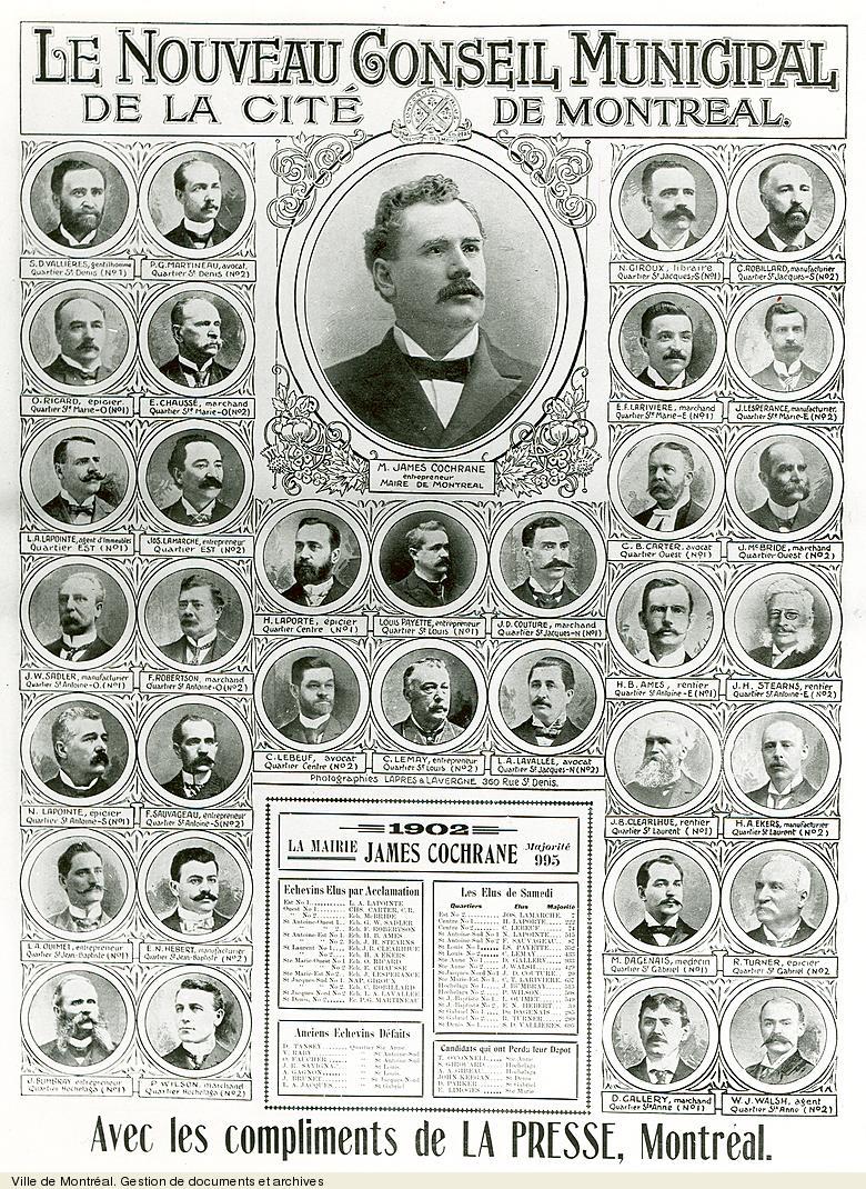 Le nouveau conseil municipal de la cité de Montréal [1902] tiré de La Presse. - [19-]. - 1 photographie. VM6,S10,D015.22-5