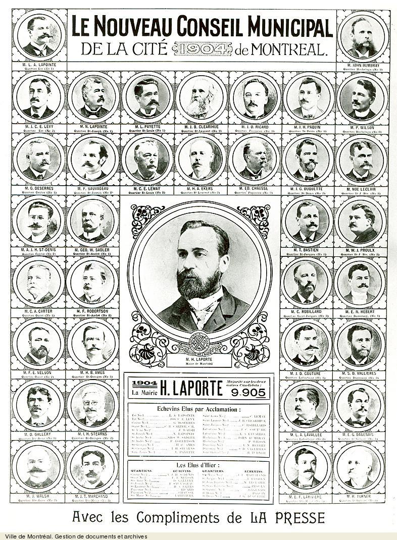 Le nouveau conseil municipal de la cité de Montréal, 1904 tiré de La Presse. - [19-]. - 1 photographie. VM6,S10,D015.22-5