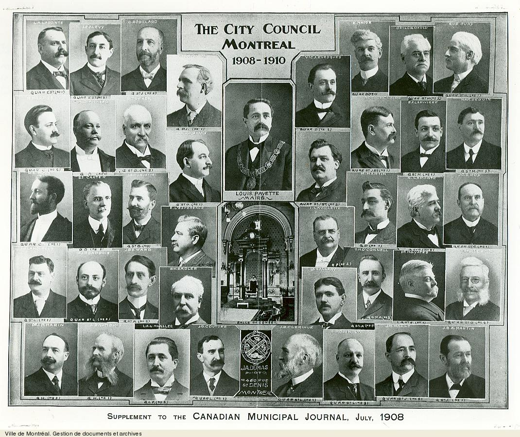 Conseil municipal de Montréal de 1908-1910 tiré du Canadian Municipal Journal, 1908. VM6,S10,D015.22-5