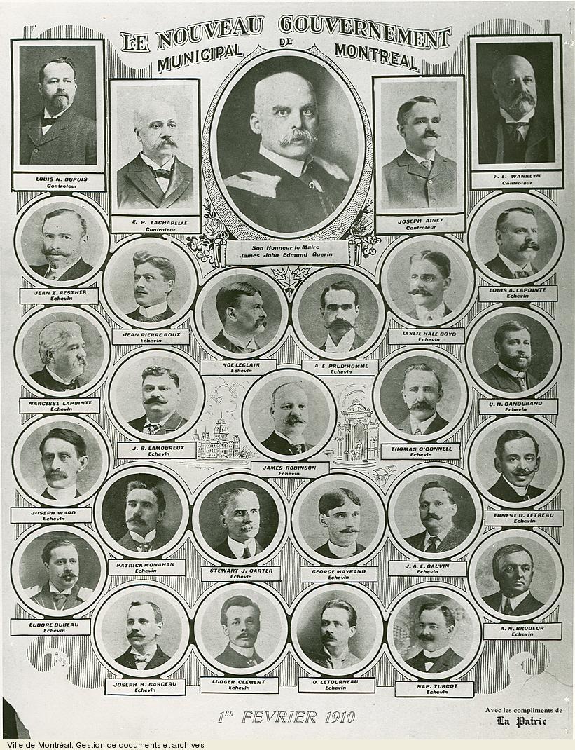 Le nouveau gouvernement municipal de Montréal, 1er février 1910 tiré de La Patrie. - [19-]. - 1 photographie. VM6,S10,D015.22-5