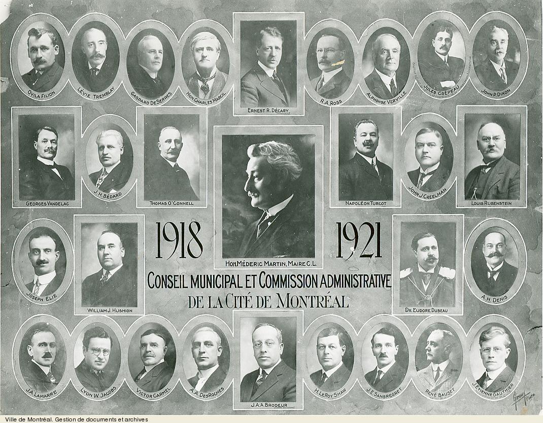 Conseil Municipal et Commission administrative de la Cité de Montréal, 1918-1921 / Giroux. - [19-]. - 1 photographie