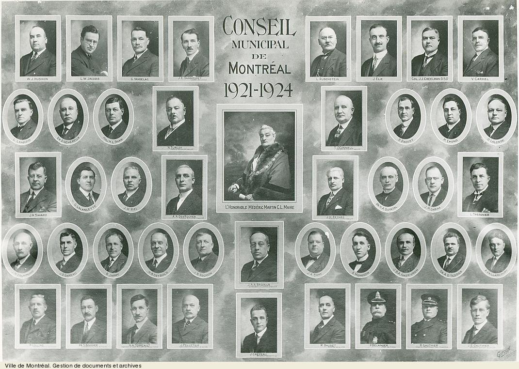 Conseil municipal de Montréal, 1921-1924. - [19-]. - 1 photographie. VM6,S10,D015.22-5