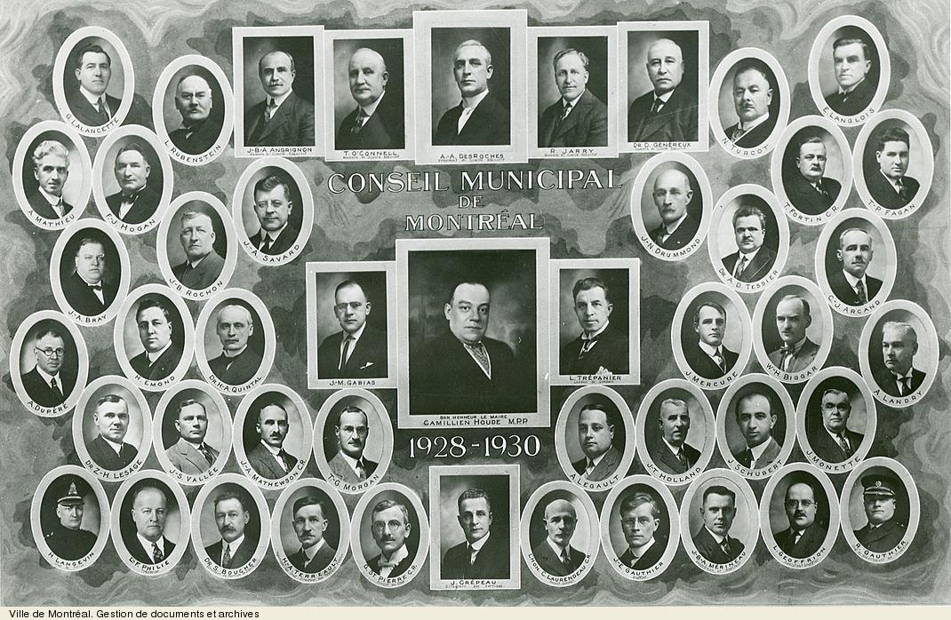 Conseil municipal de Montréal, 1928-1930. - [19-]. - 1 photographie.