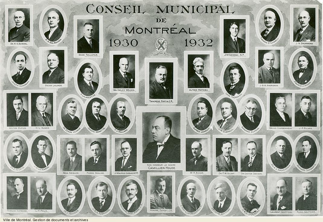 Conseil municipal de Montréal, 1930-1932. - [19-]. - 1 photographie. VM6S10,D015.22-5