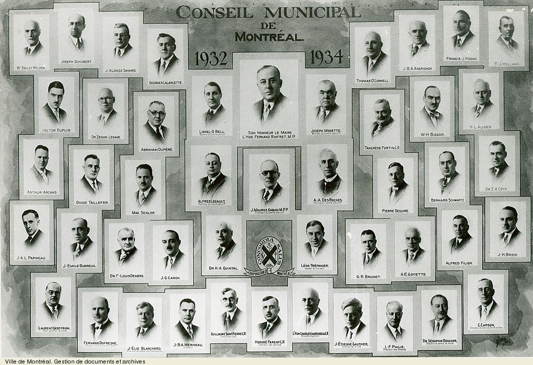 Conseil municipal de Montréal de 1932-1934, photo Giroux.VM6,S10,D015.22-5