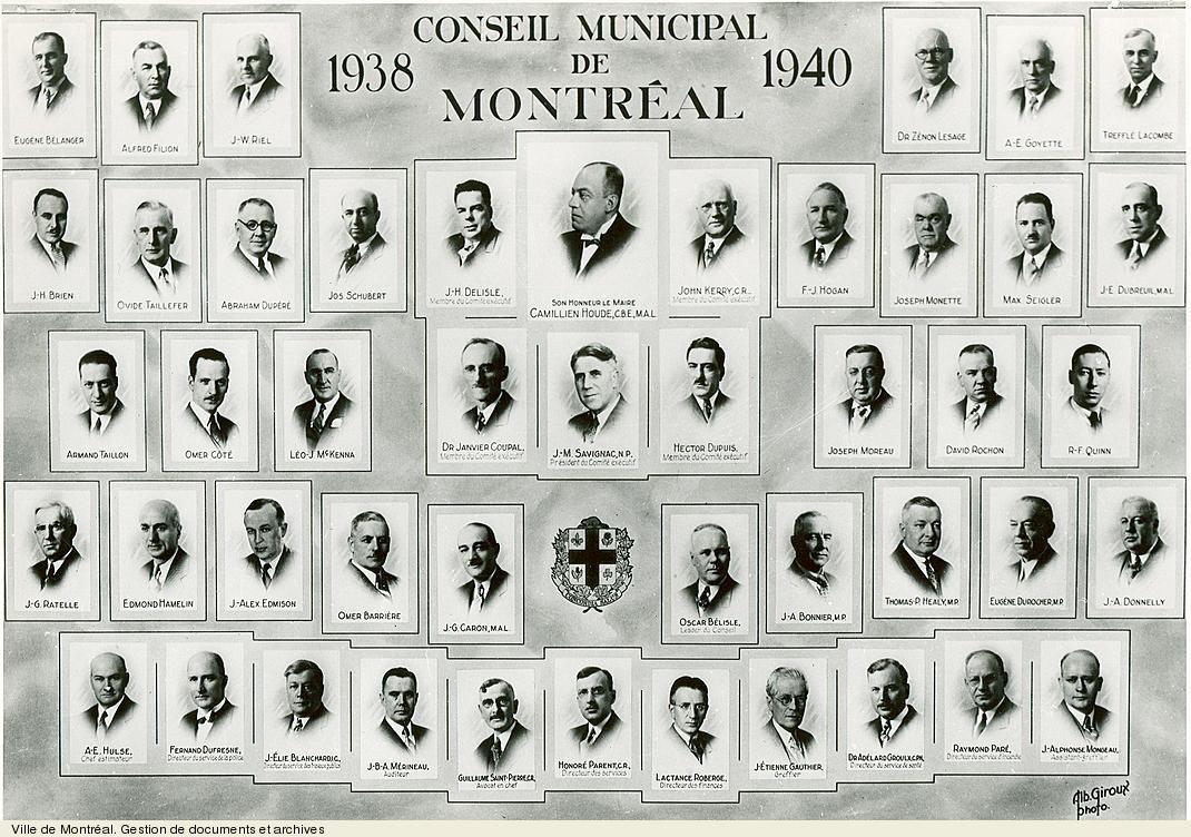 Conseil municipal de Montréal de 1938-1940, photo Albert Giroux.VM6,S10,D015.22-5