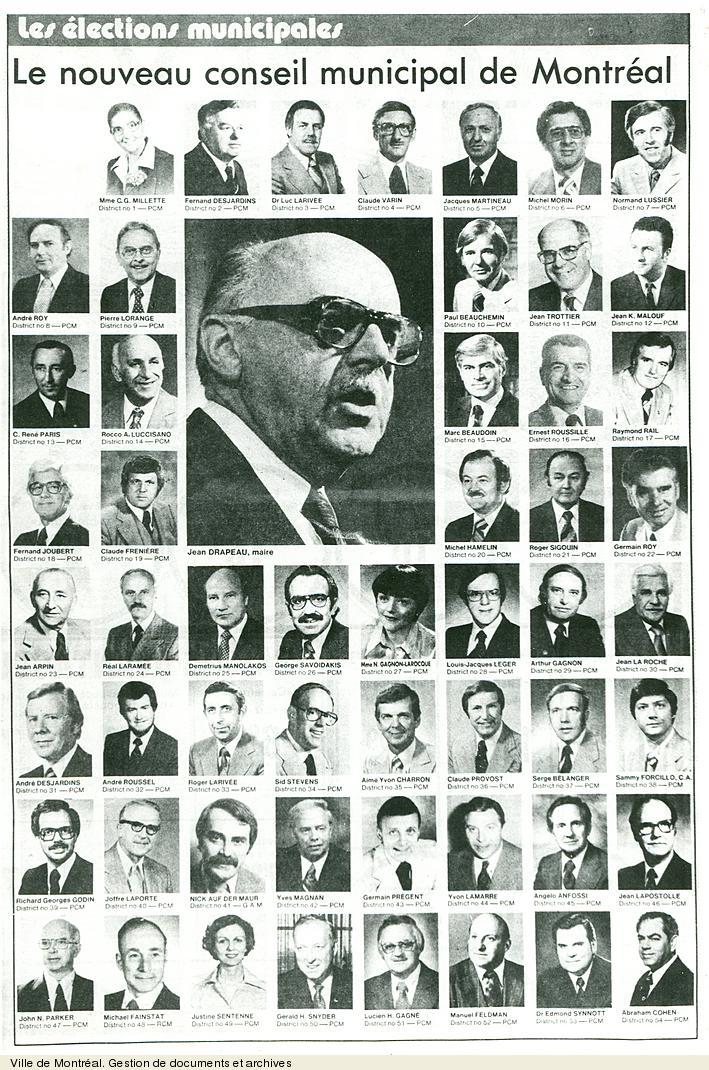 Page du journal La Presse montrant le conseil municipal de 1978. VM6,S10,D015.22-5