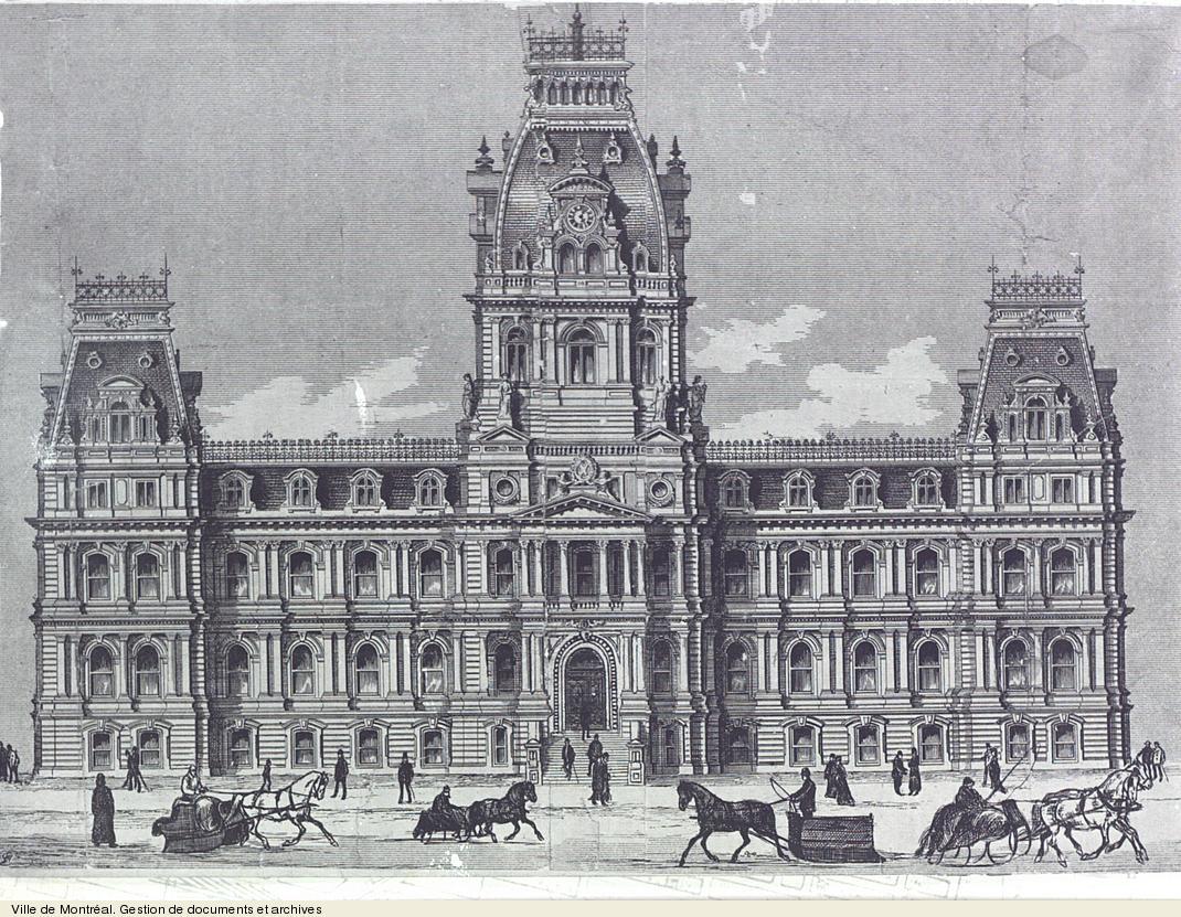 Hôtel de ville de Montréal, vers 1878. VM6,S10,R3067.2-1