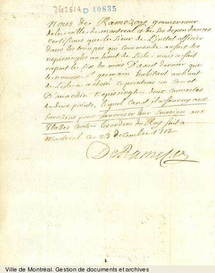Note de Claude de Ramezay, gouverneur de Montréal. - 1712. - 1 page. BM7,C22,40835