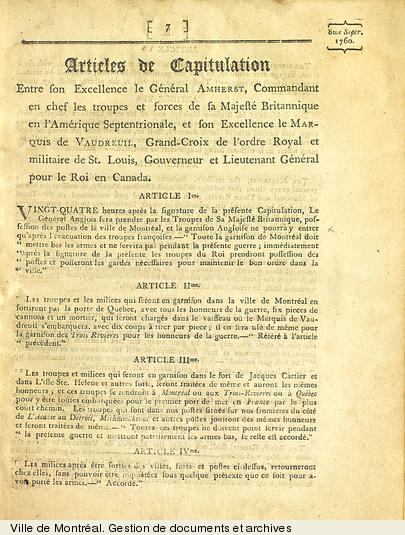 Articles de capitulation tiré de Capitulations et extraits des traités concernant le Canada, 19e siècle, 22 pages. VM6,V.258.1-5