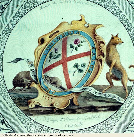 Premières armoiries. - vers 1833. - 1 dessin.BM99,S1,D1